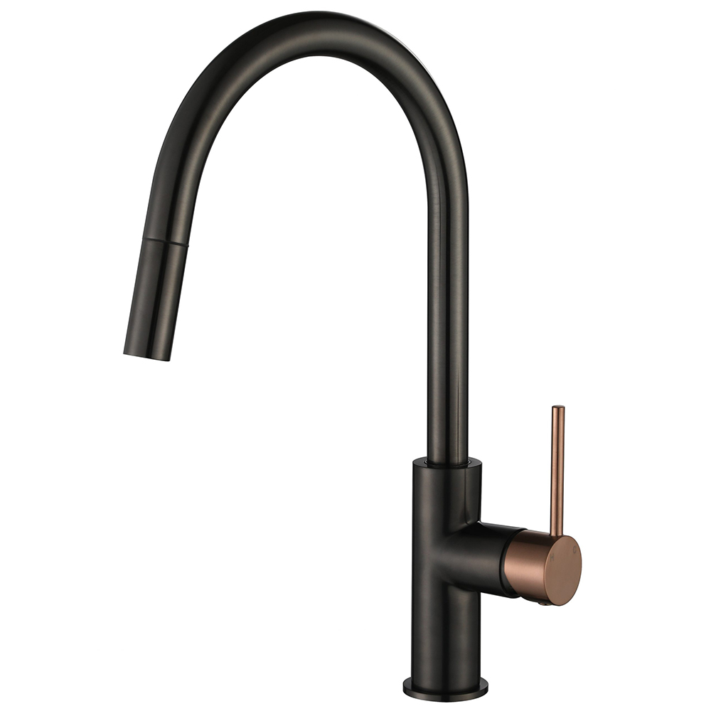 Star Mini Pull Out Kitchen Mixer-PVD Champagne & Gun Metal