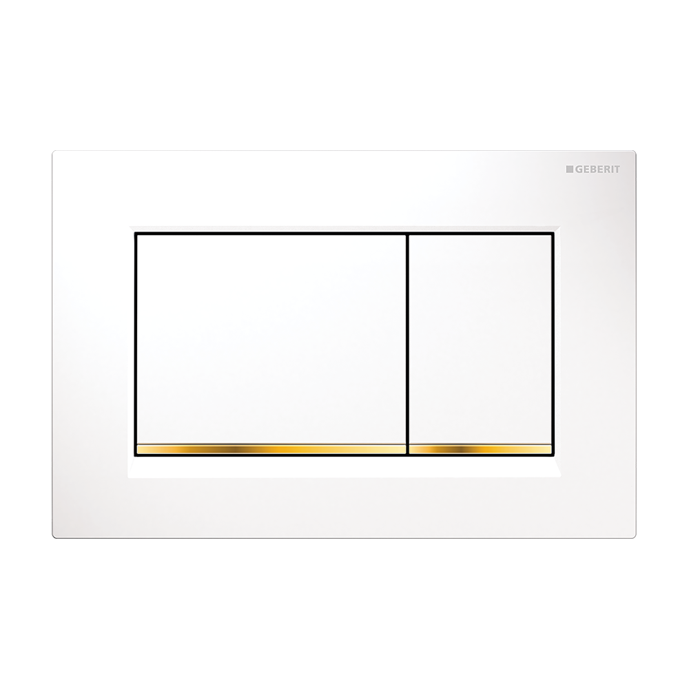 Sigma30 Dual Flush Button- White/Gold Trim