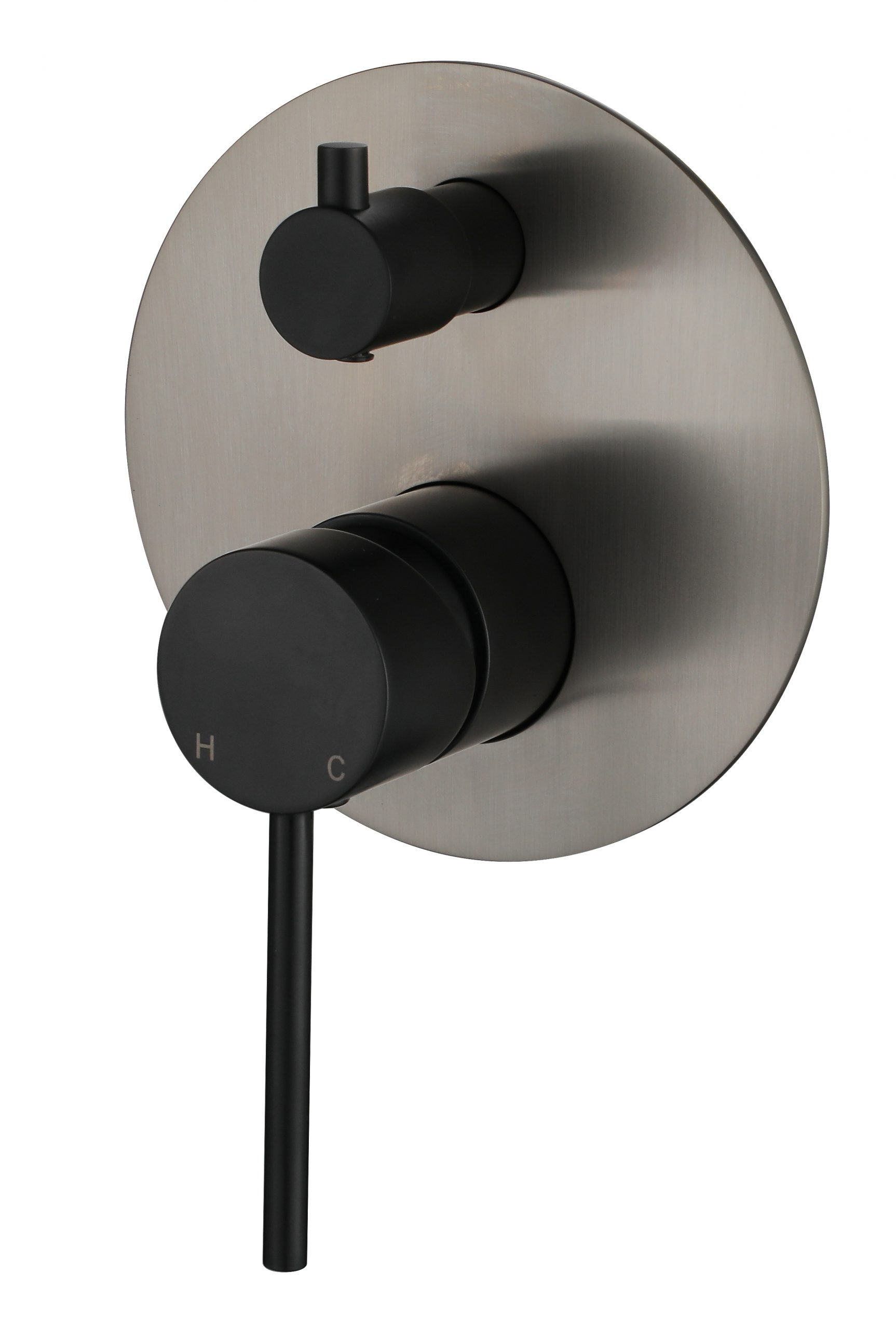 Star Mini Shower Divertor-PVD Brushed Nickel & Matt Black