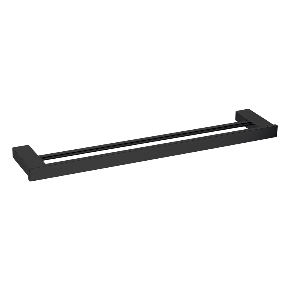 Qube Double Towel Rail 600mm Matte Black