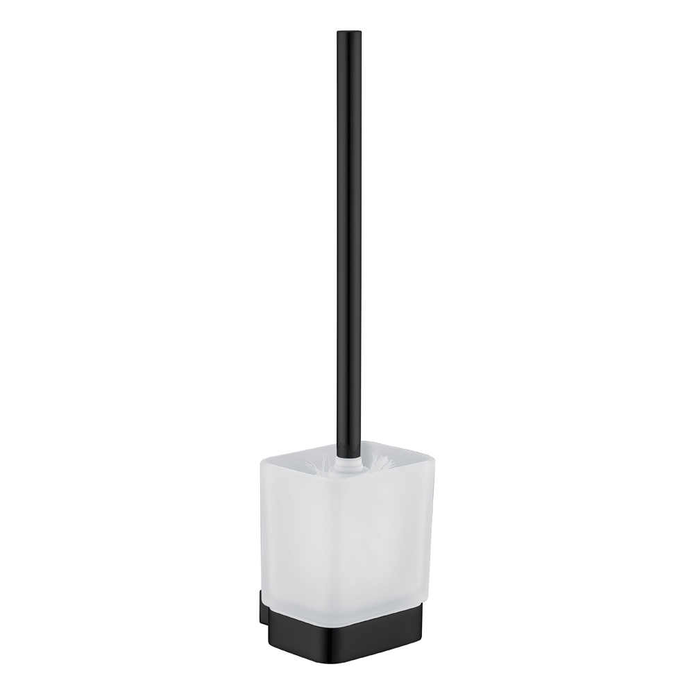 Qube Toilet Brush Holder-Matt Black