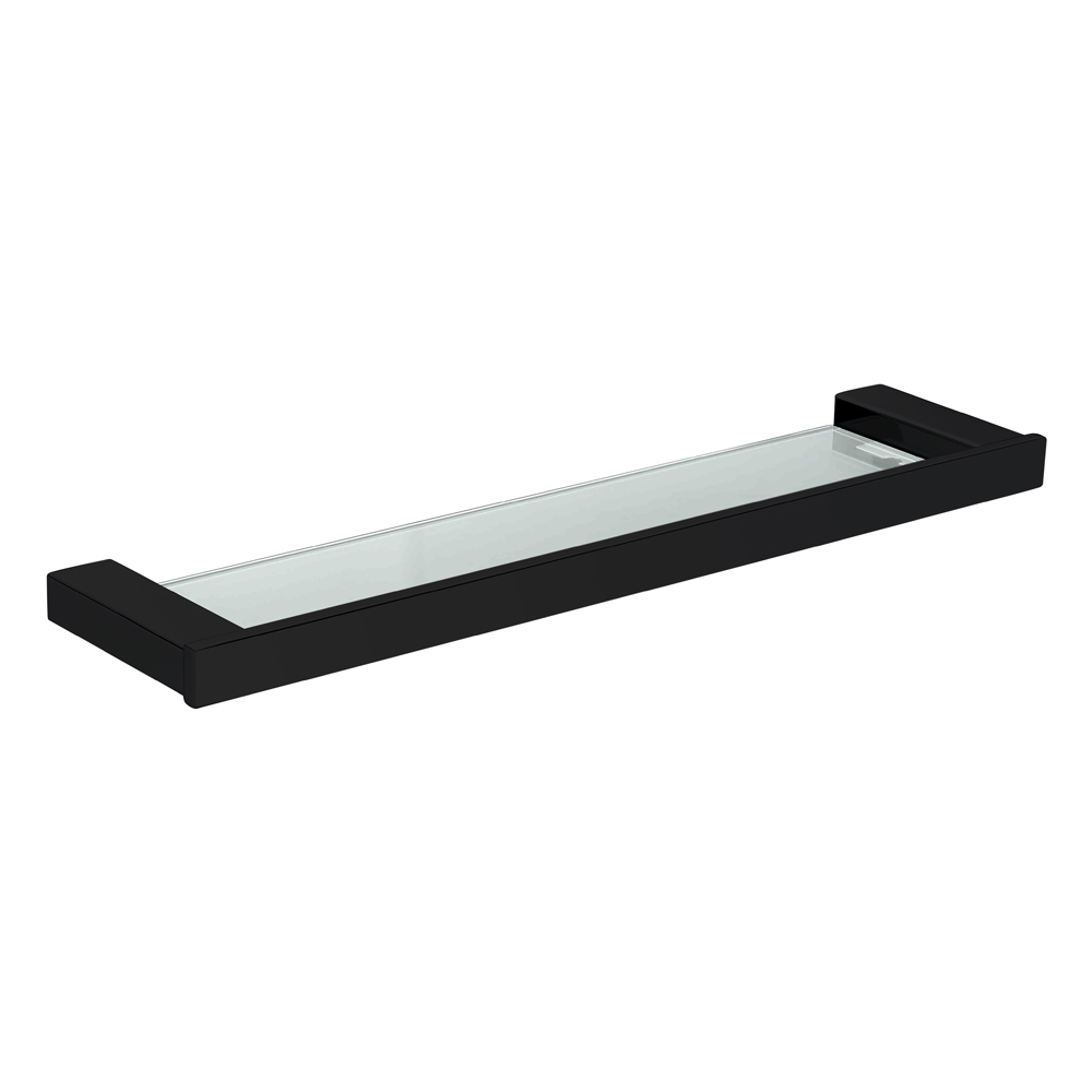 Qube Glass Shelf-Matt Black