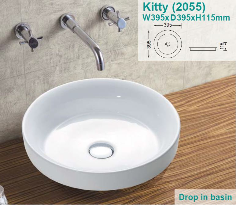 Kitty Drop In Ceramic Basin