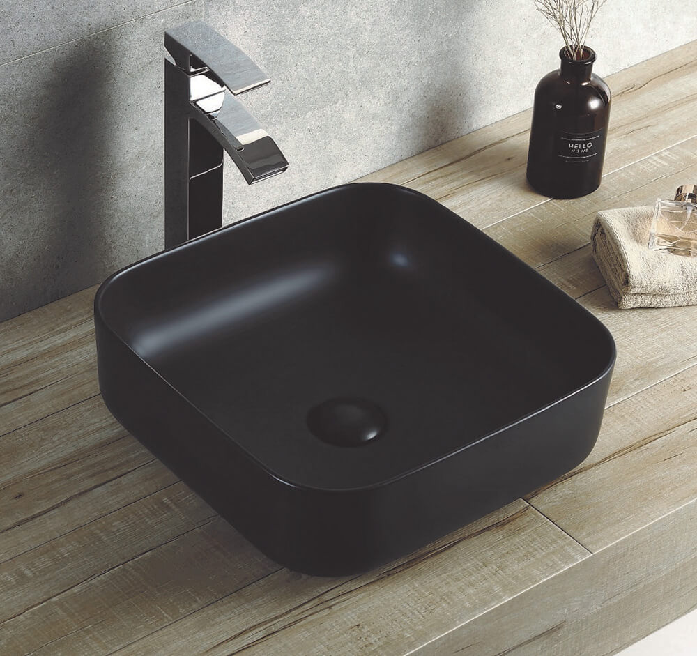 Square 390 mm Ceramic Basin Matt Black