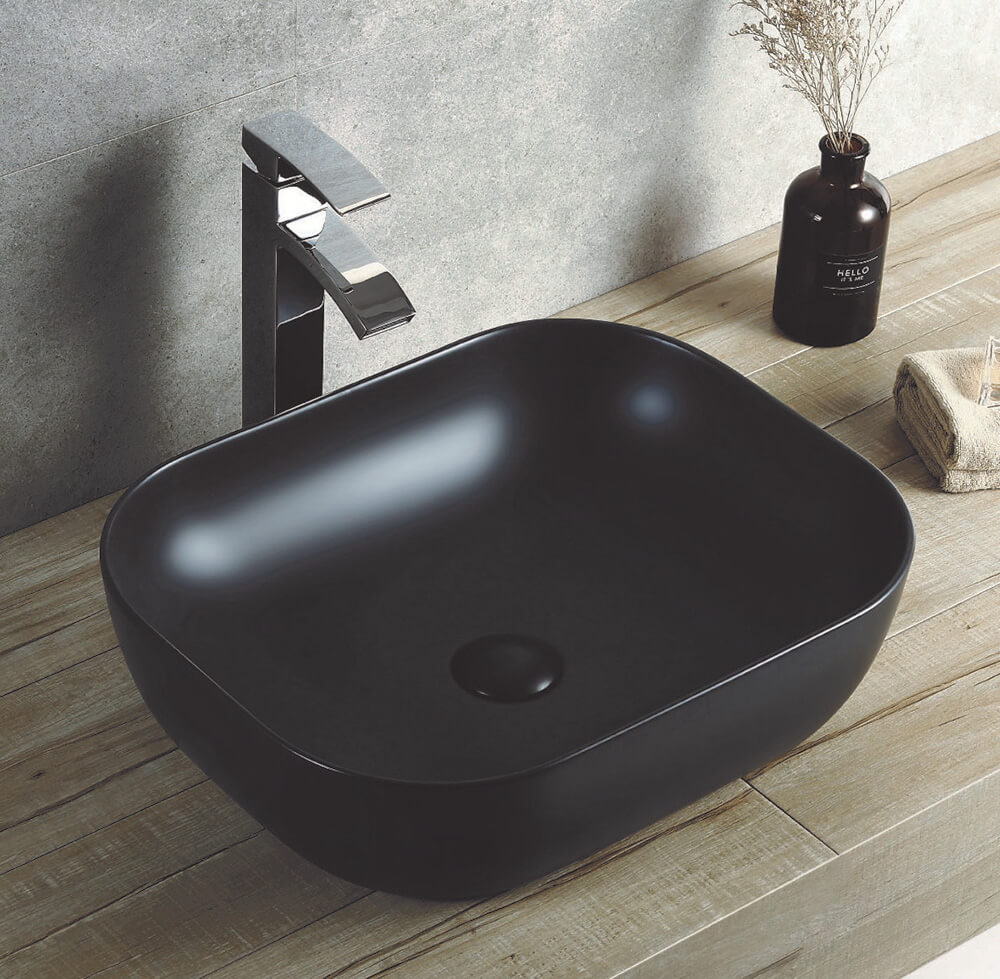 Rectangle 495 mm Ceramic Basin Matte Black