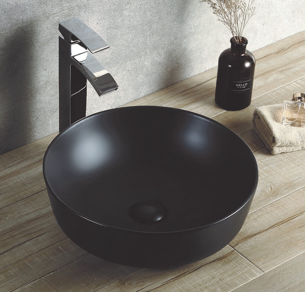 Round 420 mm Ceramic Basin Matt Black