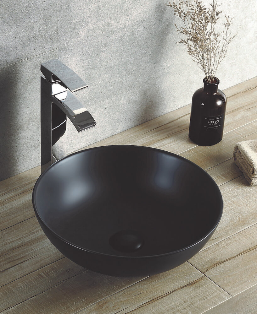 Round 395 mm Ceramic Basin Matt Black