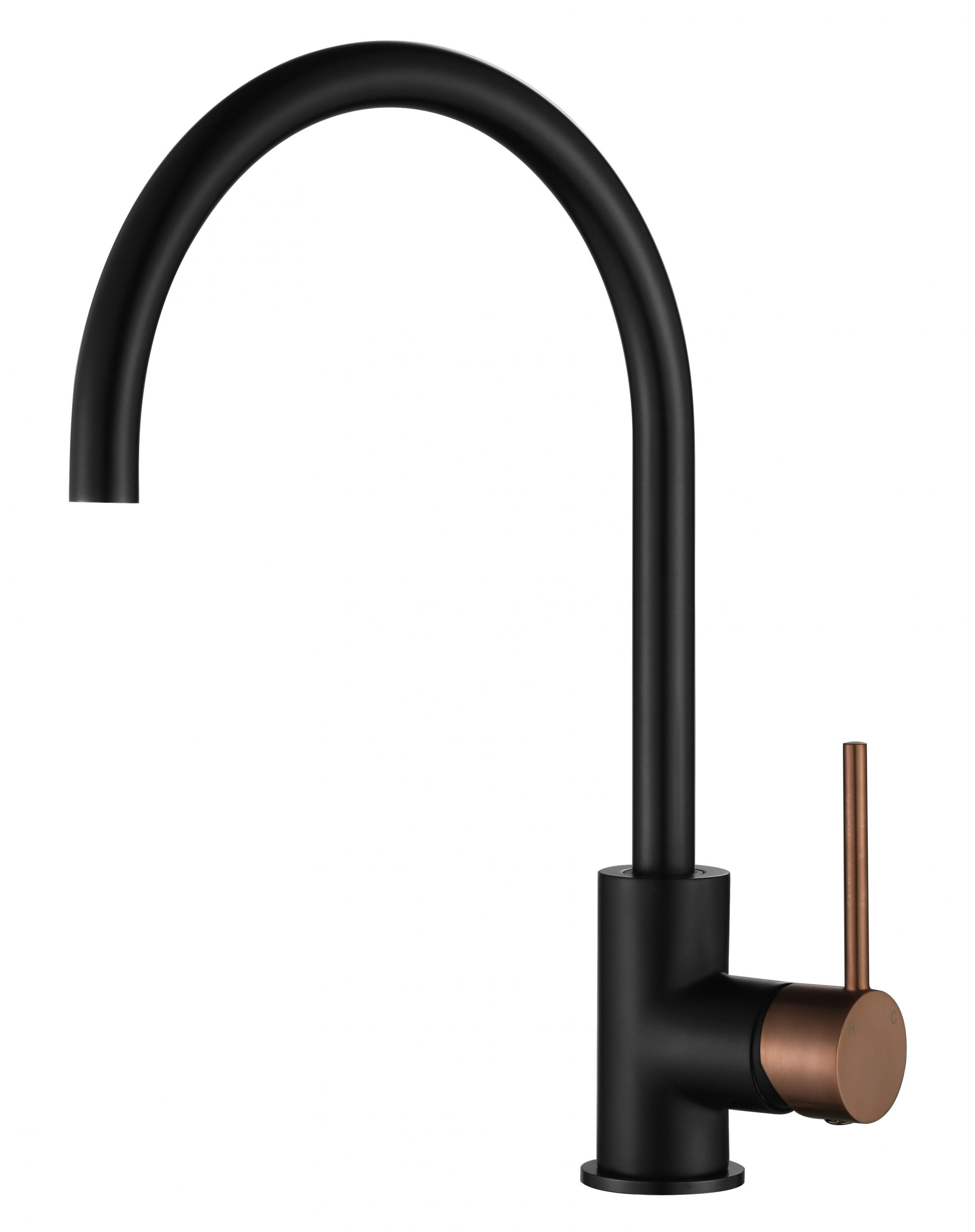 Star Mini Kitchen Mixer-Matt Black & PVD Champagne