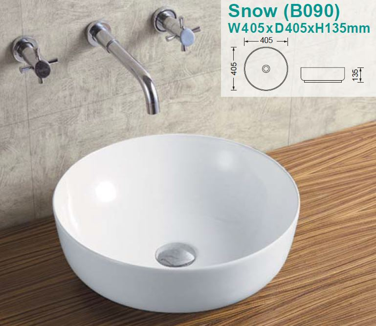 Snow Over-Counter Ceramic Basin