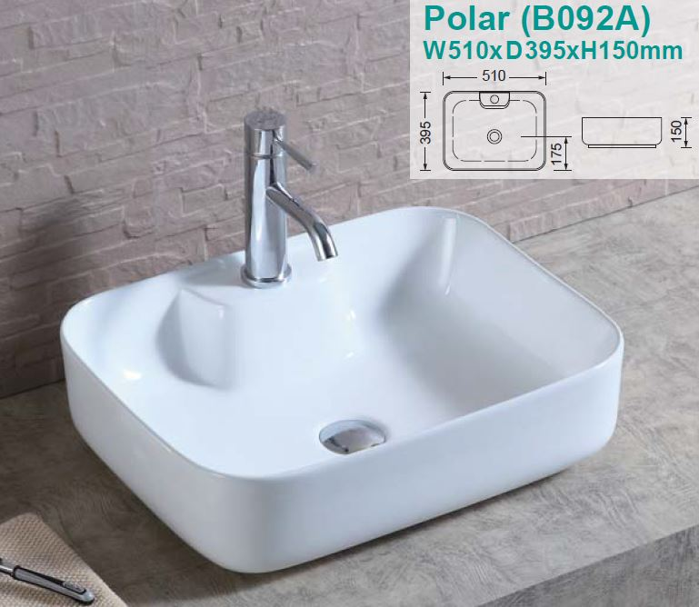 Polar Over-Counter Ceramic Basin