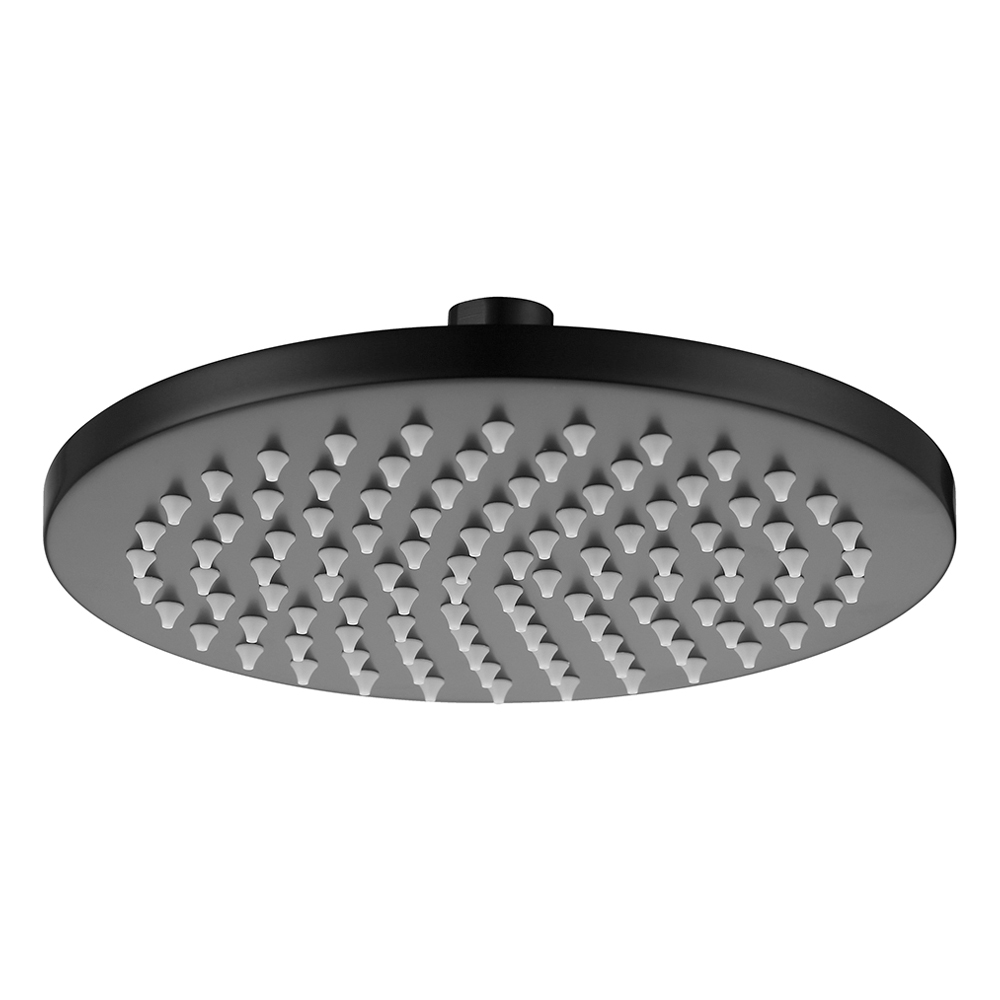 Brass 200mm Round Shower Head Matte Black