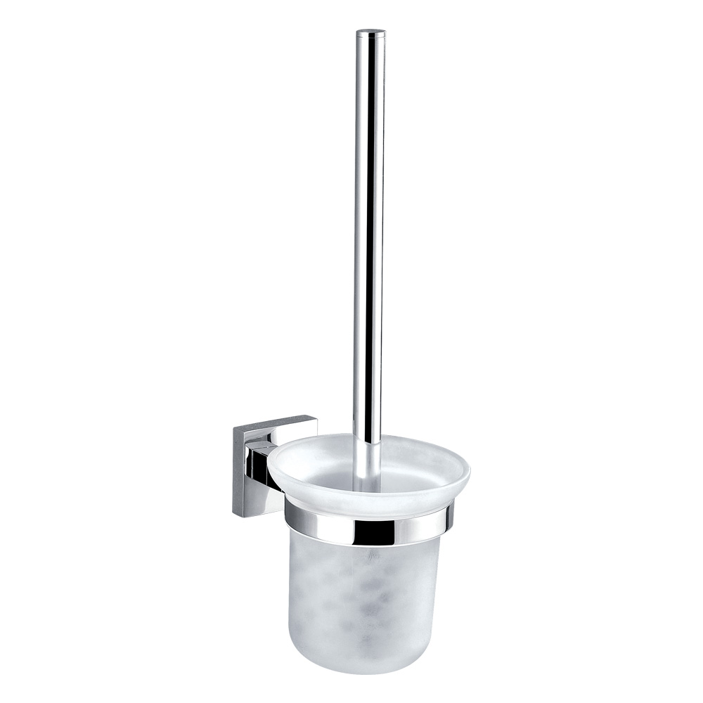 Bold Glass Toilet Brush Holder-Chrome