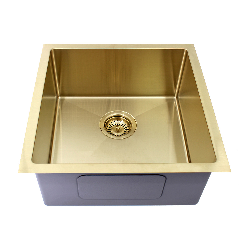 Kolora Square Single Bowl Sink Finish - Light Gold