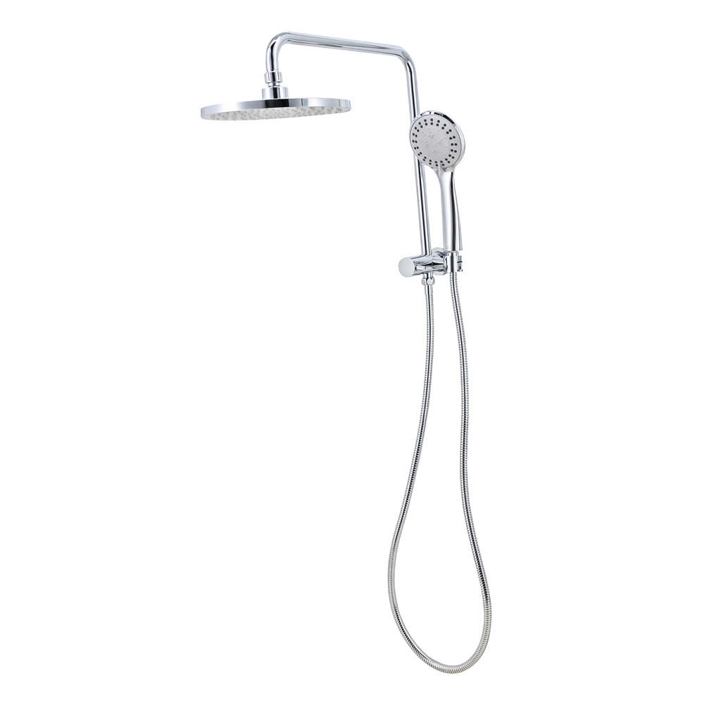 Round Twin Shower System Half Rail Chrome