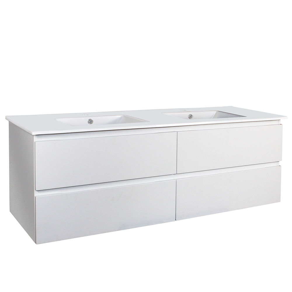 Paris 1500 Double Bowls Wall Hung Vanity - Matte White