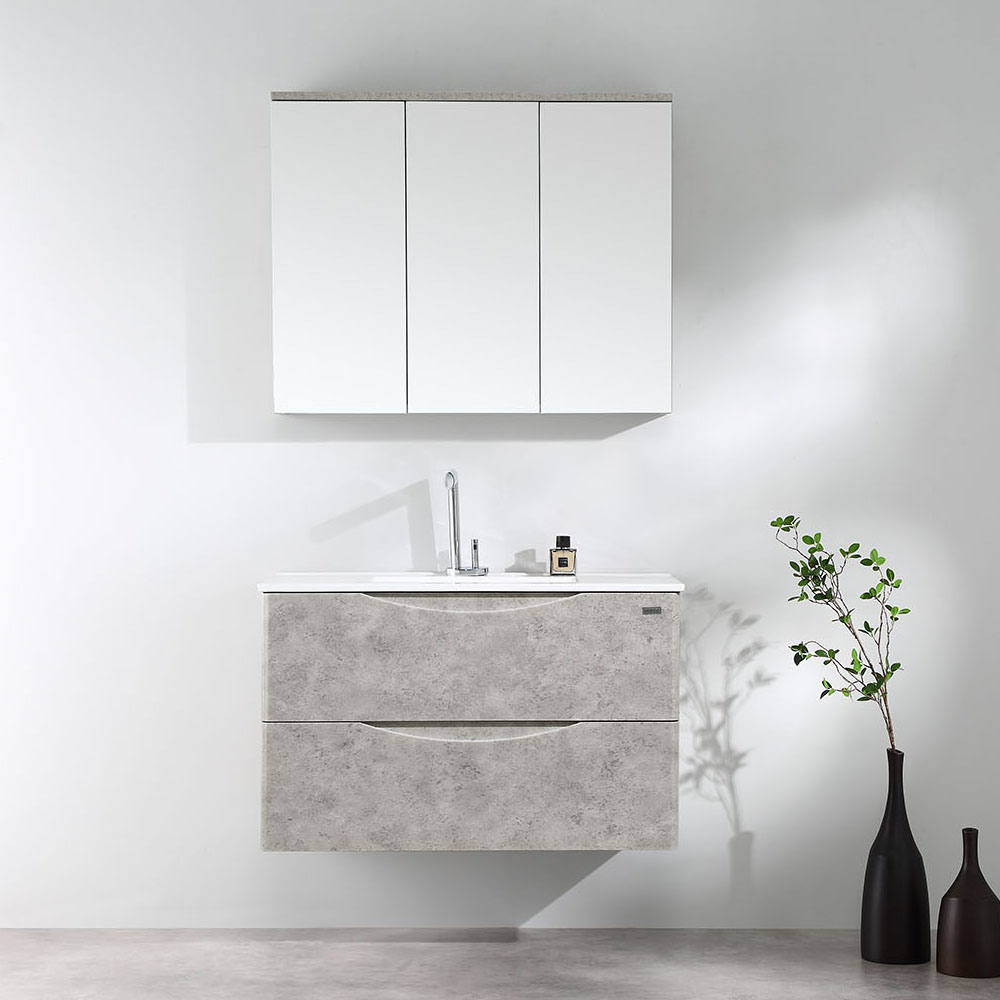 Luna 900mm Wall Hung Vanity-Rock Cemento