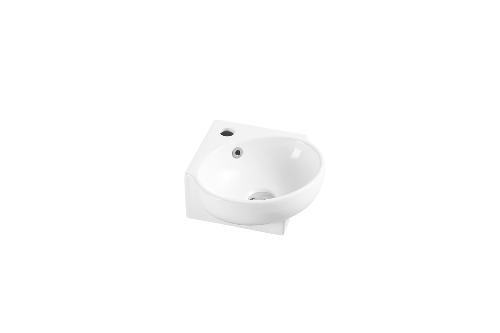 Mini Wall-Hung corner Basin with Tap Hole (390x365)