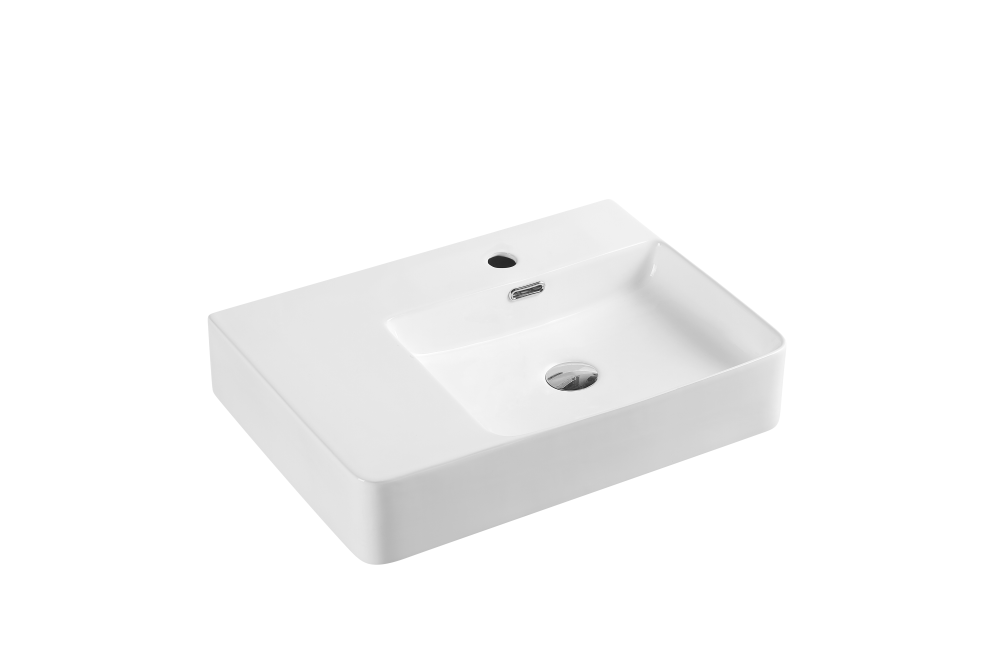 Vento Wall-Hung Rectangular Basin LH with Tap Hole (600x420)