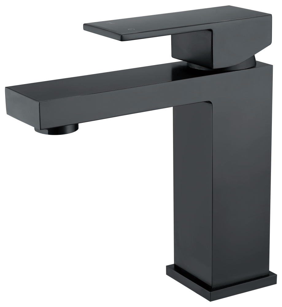 Cube Basin Mixer-Matt Black