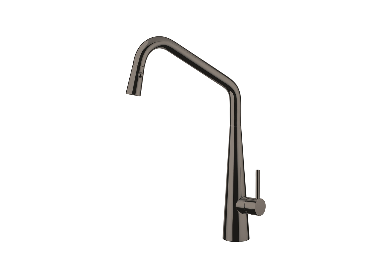 Elias Pull Out Sink Mixer with Twin Spray- Black Chrome