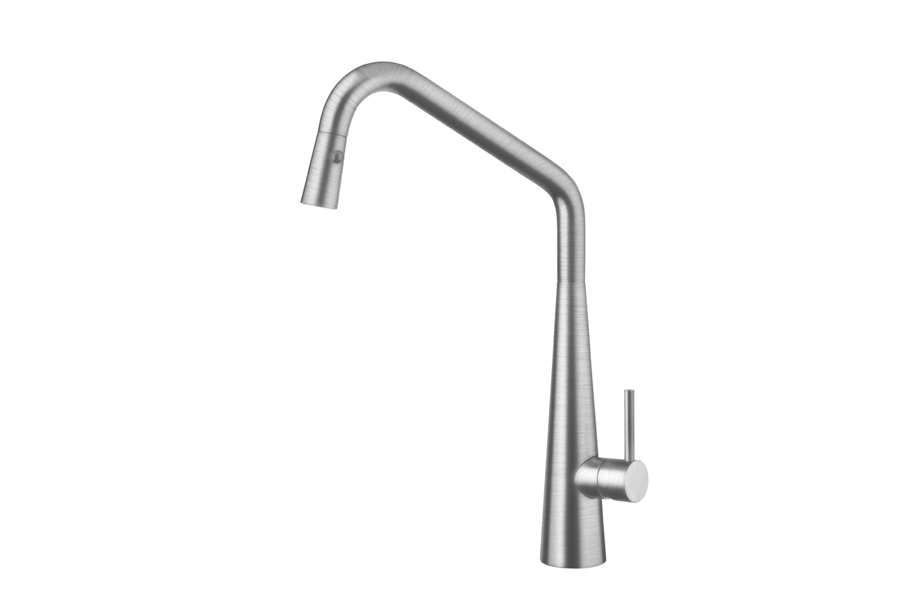 Elias Pull Out Sink Mixer with Twin Spray- Brushed Nickel