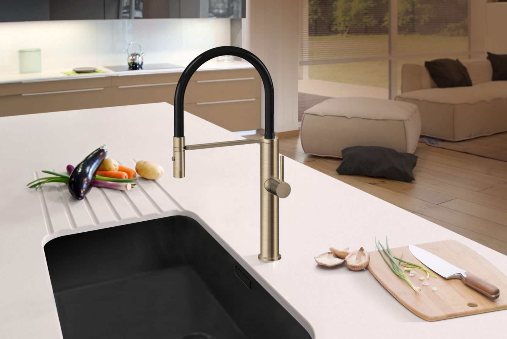 Luca Pull Down Sink Mixerwith Twin Spray- Oiled Bronze
