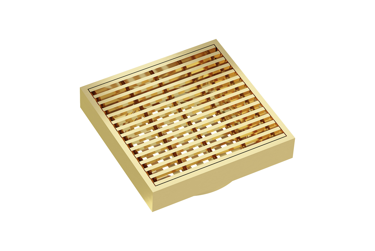 EzyFlow 110 Square Linear Heelguard Grate- Brushed Brass