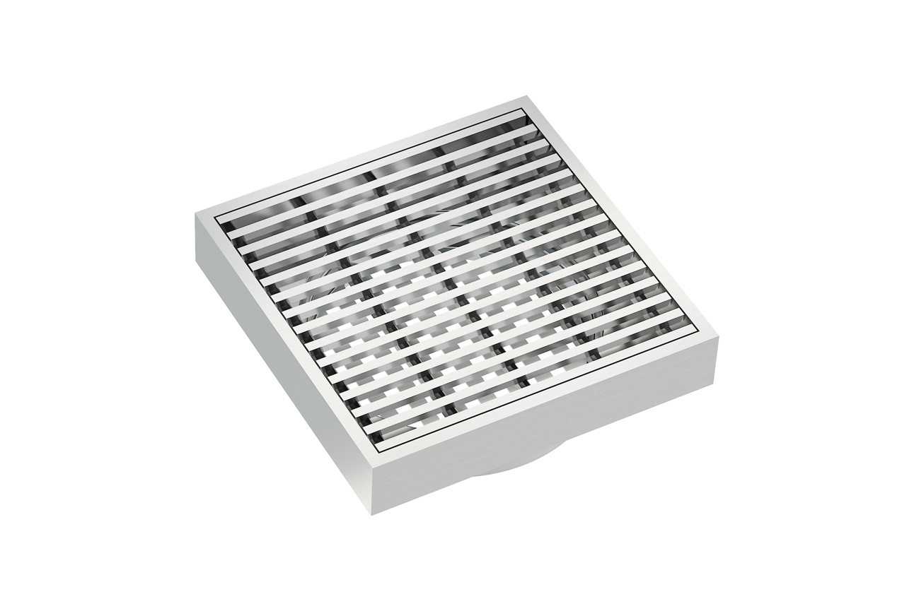 EzyFlow 110 Square Linear Heelguard Grate- Brushed Stainless