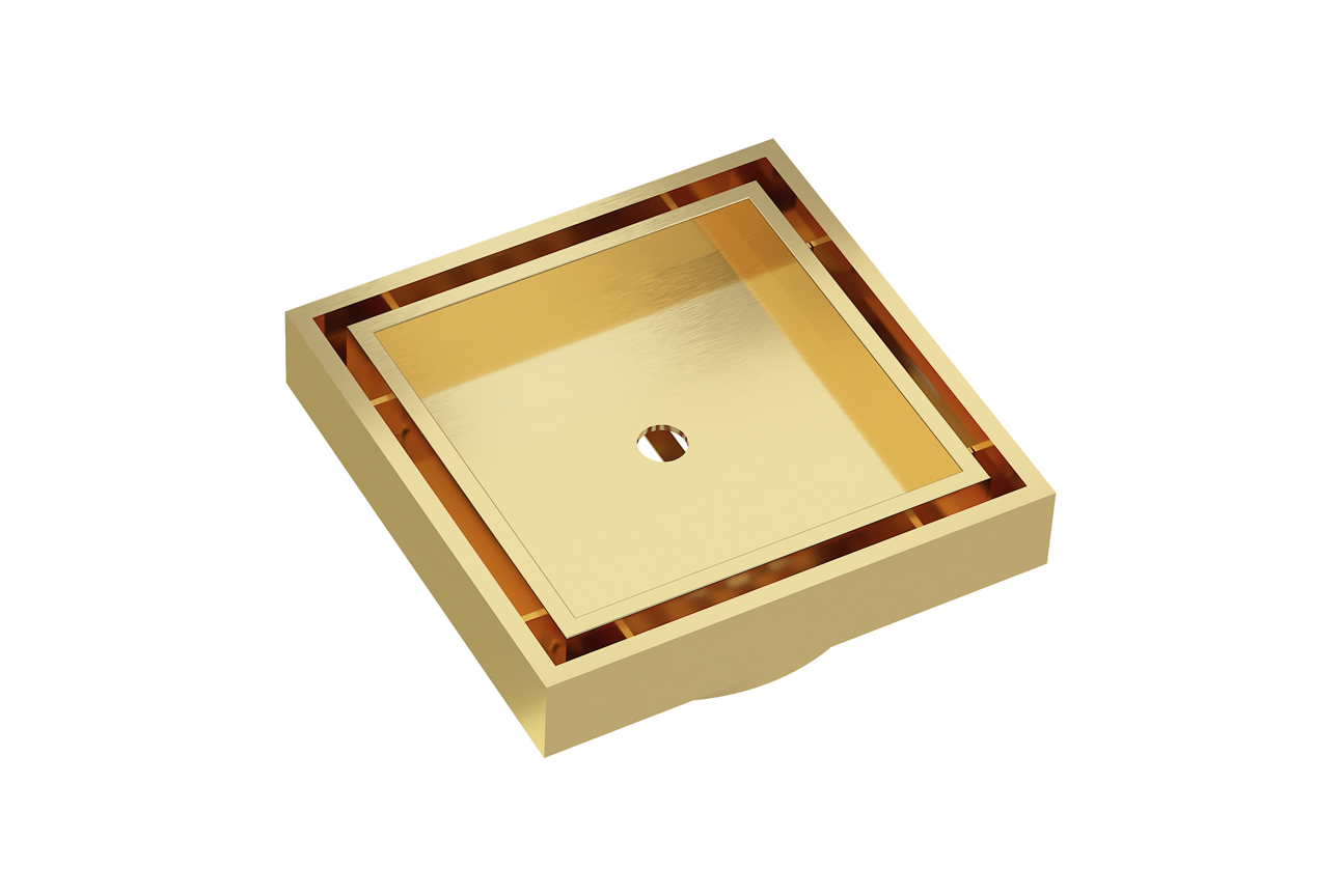 EzyFlow 110 Square Tile Insert Grate- Brushed Brass