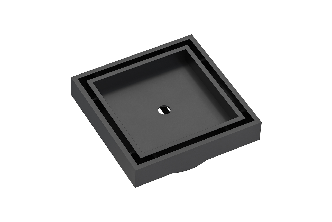 EzyFlow 110 Square Tile Insert Grate- Matt Black