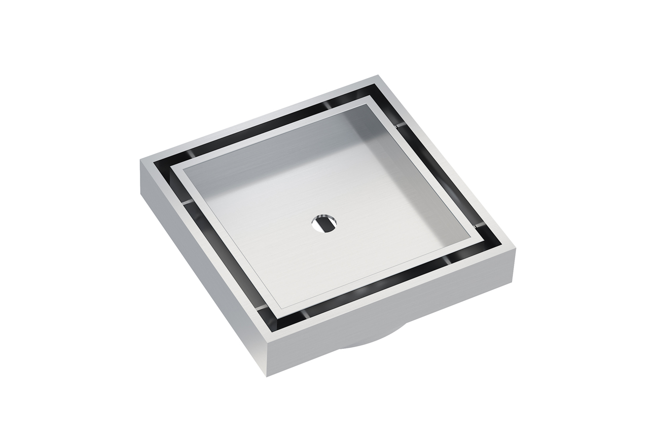 EzyFlow 110 Square Tile Insert Grate- Brushed Stainless
