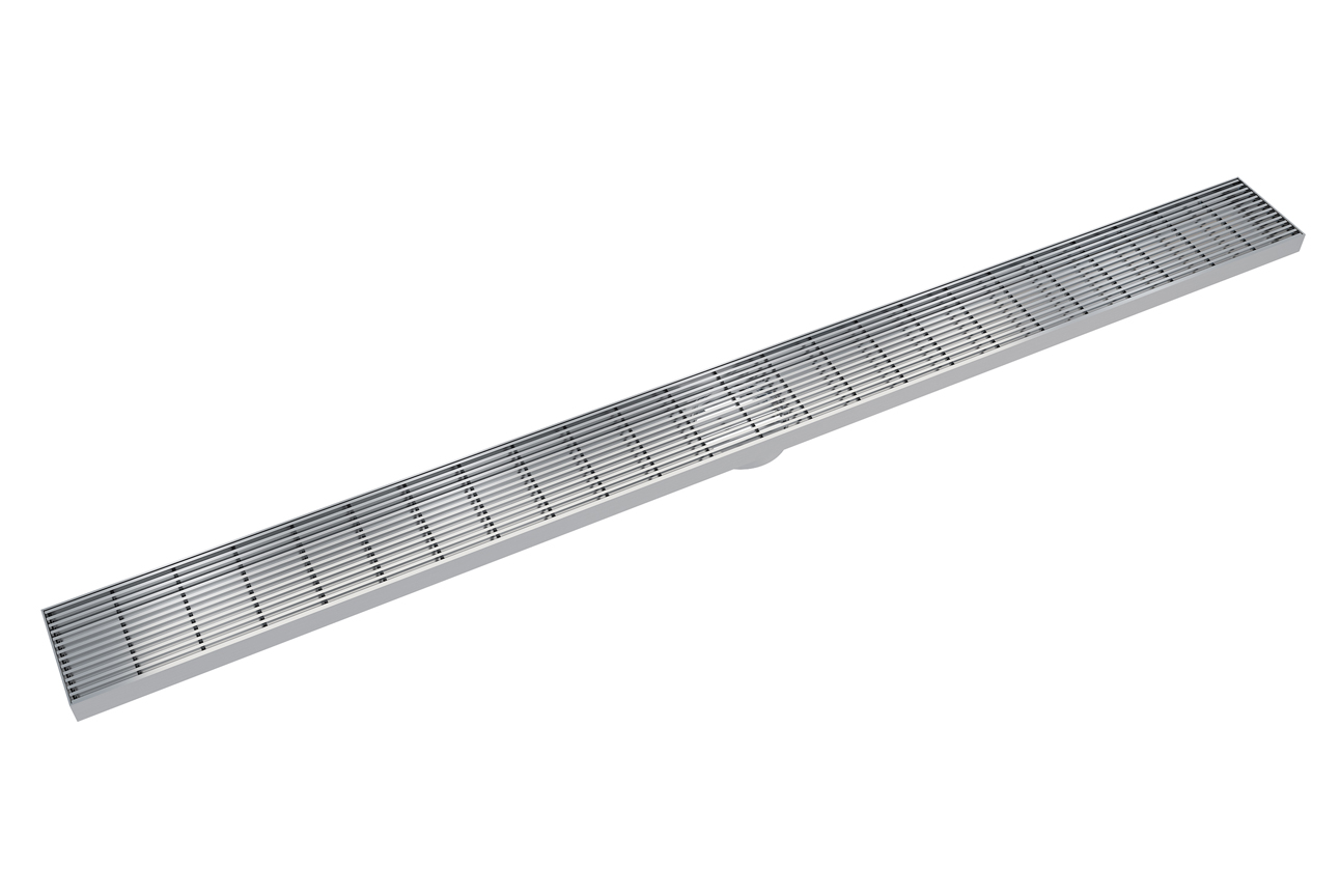 EzyFlow 1200 Linear Heelguard Channel Grate Grate- Brushed Stainless
