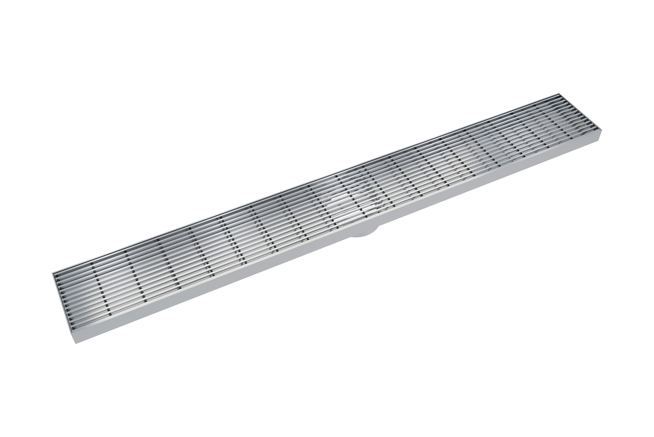EzyFlow 800 Linear Heelguard Channel Grate Grate- Brushed Stainless