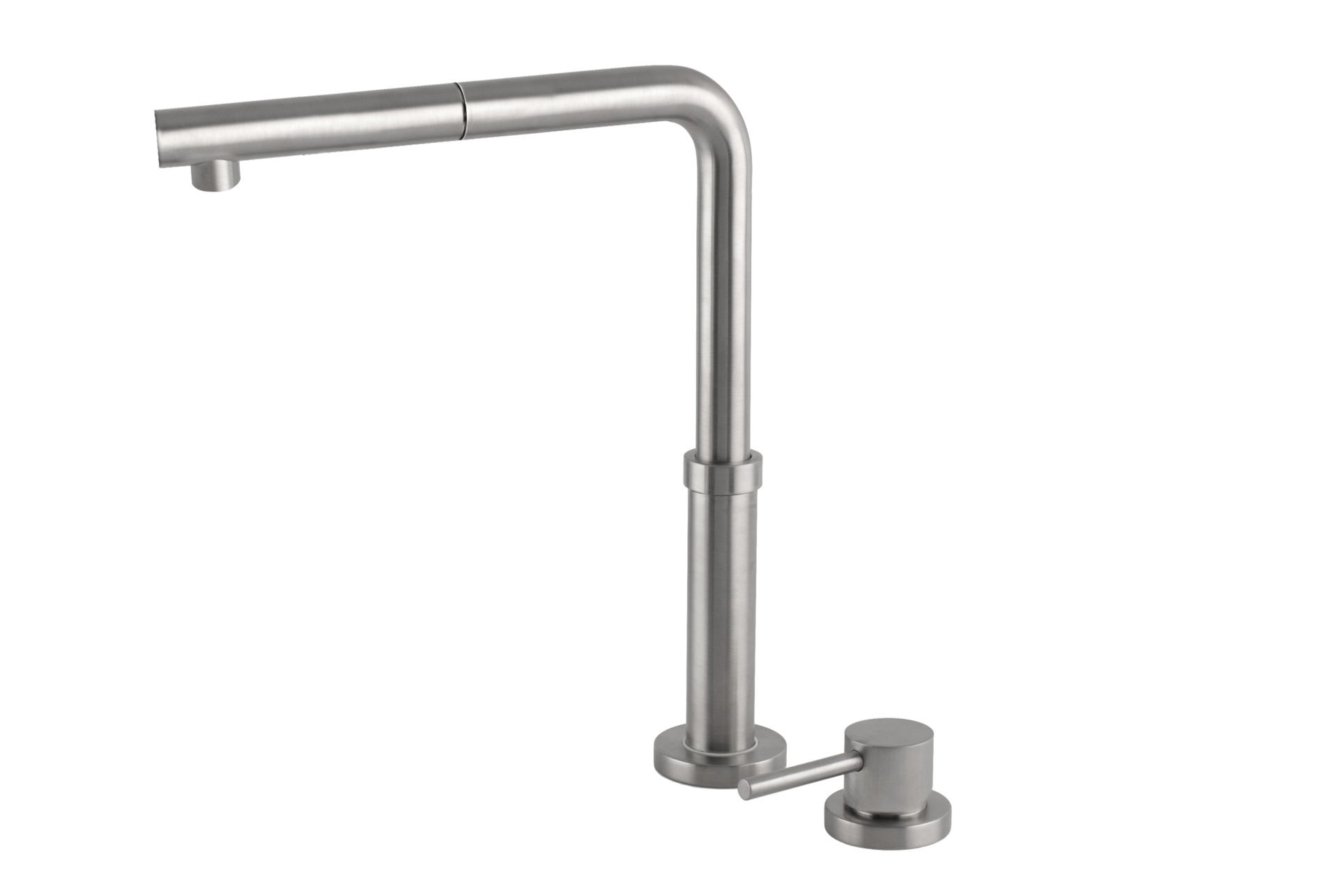 Domena Telescopic Pull Out Sink Mixer- Brushed Stainless Steel