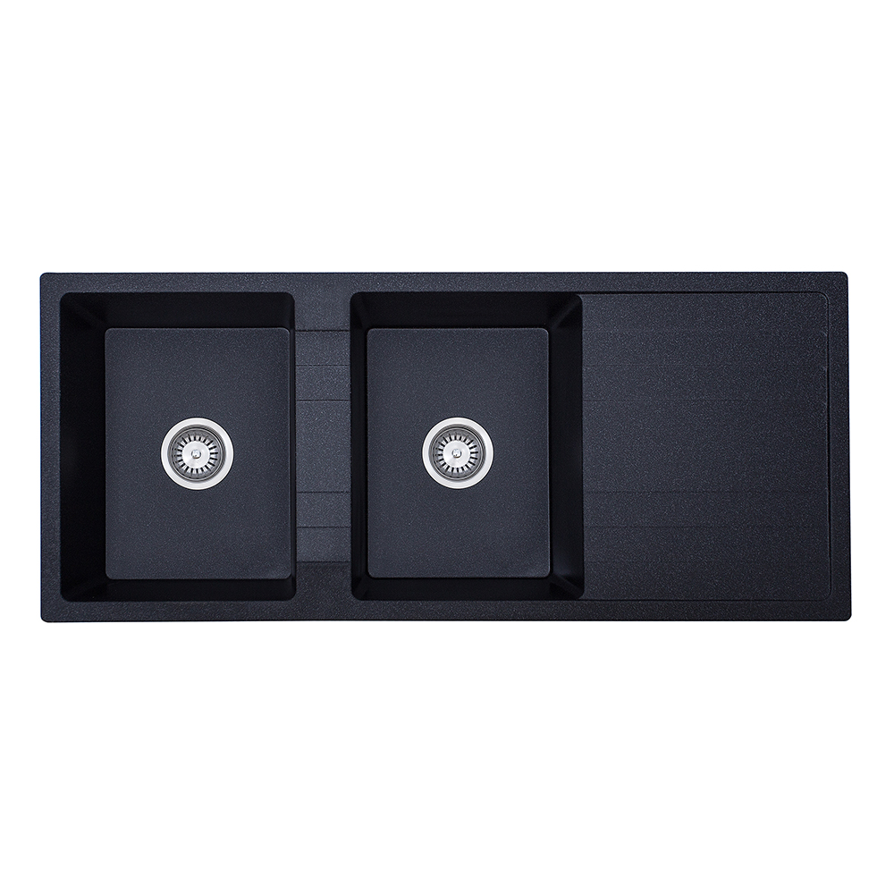 Ria Double Bowl With Drainer Granite Sink-Black Finish (1160x500x210)